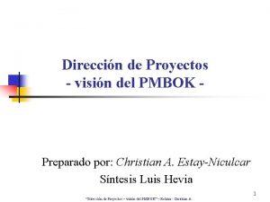 Direccin de Proyectos visin del PMBOK Preparado por