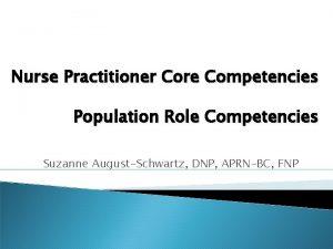 Nurse Practitioner Core Competencies Population Role Competencies Suzanne