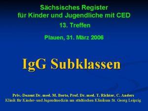 Schsisches Register fr Kinder und Jugendliche mit CED