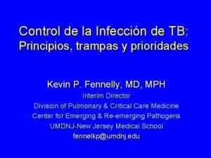 Control de la Infeccin de TB Principios trampas