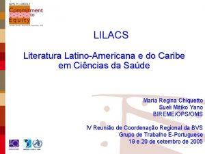 LILACS Literatura LatinoAmericana e do Caribe em Cincias