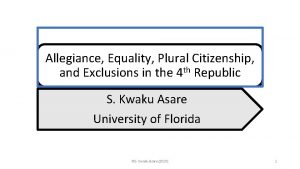 Allegiance Equality Plural Citizenship and Exclusions in the