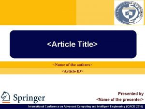 Article Title Name of the authors Article ID