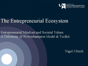 The Entrepreneurial Ecosystem Entrepreneurial Mindset and Societal Values