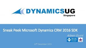 Sneak Peek Microsoft Dynamics CRM 2016 SDK Aileen