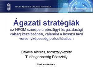 gazati stratgik az NFGM szerepe a pnzgyi s