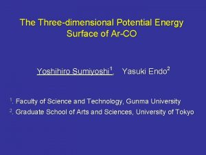 The Threedimensional Potential Energy Surface of ArCO Yoshihiro