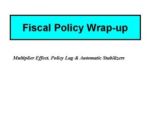 Fiscal Policy Wrapup Multiplier Effect Policy Lag Automatic