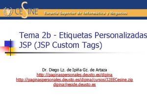 Tema 2 b Etiquetas Personalizadas JSP JSP Custom