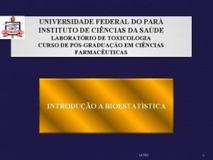 UNIVERSIDADE FEDERAL DO PAR INSTITUTO DE CINCIAS DA