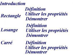 Introduction Dfinition Utiliser les proprits Rectangle Dmontrer Dfinition