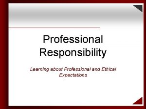 Professional Responsibility Learning about Professional and Ethical Expectations