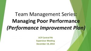 Team Management Series Managing Poor Performance Performance Improvement