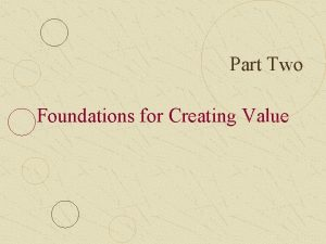 Part Two Foundations for Creating Value Part Two