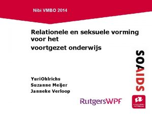 Nibi VMBO 2014 Relationele en seksuele vorming voor