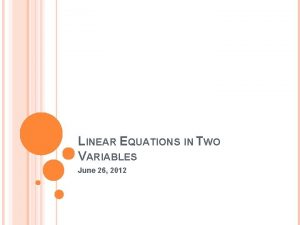 LINEAR EQUATIONS IN TWO VARIABLES June 26 2012