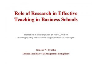 Role of Research in Effective Teaching in Business