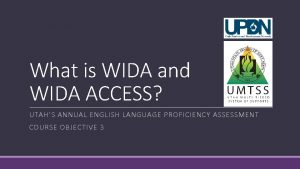 What is WIDA and WIDA ACCESS UTAHS ANNUAL
