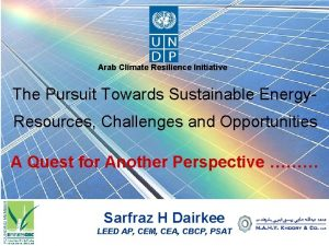 Arab Climate Resilience Initiative The Pursuit Towards Sustainable