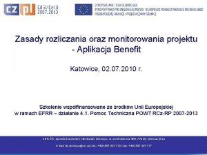 Zasady rozliczania oraz monitorowania projektu Aplikacja Benefit Katowice