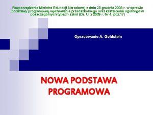 Rozporzdzenie Ministra Edukacji Narodowej z dnia 23 grudnia