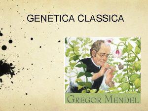 GENETICA CLASSICA INTRODUZIONE La genetica dal greco antica