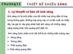 Chng 11 THIT K CHIU SNG 1 L