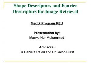 Shape Descriptors and Fourier Descriptors for Image Retrieval