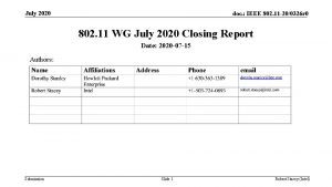 July 2020 doc IEEE 802 11 200326 r