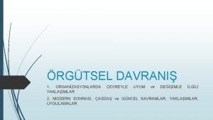 RGTSEL DAVRANI 1 ORGANZASYONLARDA YAKLAIMLAR EVREYLE UYUM ve