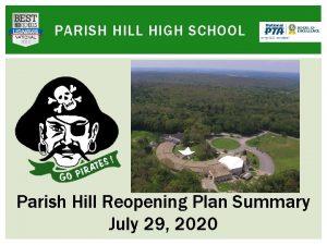 PARISH HILL HIGH SCHOOL Parish Hill Reopening Plan