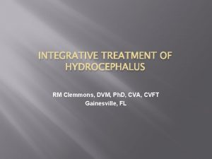 INTEGRATIVE TREATMENT OF HYDROCEPHALUS RM Clemmons DVM Ph