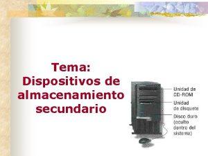 Tema Dispositivos de almacenamiento secundario Tema Dispositivos de