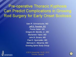 Preoperative Thoracic Kyphosis Can Predict Complications in Growing