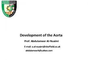 Development of the Aorta Prof Abdulameer AlNuaimi Email