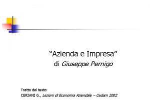 Azienda e Impresa di Giuseppe Pernigo Tratto dal