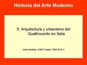 Historia del Arte Moderno 5 Arquitectura y urbanismo