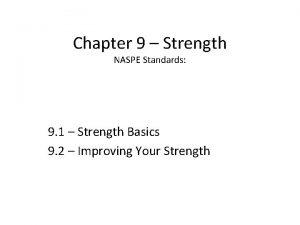 Chapter 9 Strength NASPE Standards 9 1 Strength