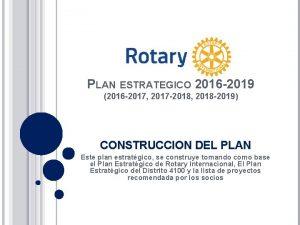 PLAN ESTRATEGICO 2016 2019 2016 2017 2017 2018