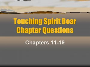 Touching Spirit Bear Chapter Questions Chapters 11 19