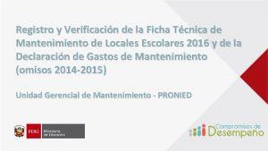 Registro y Verificacin de la Ficha Tcnica de