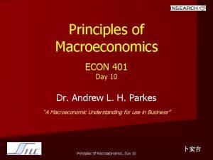Principles of Macroeconomics ECON 401 Day 10 Dr