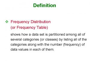 Definition v Frequency Distribution or Frequency Table shows