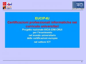 EUCIP 4 U Certificazioni professionali informatiche nei curricula