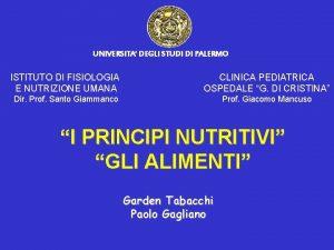 UNIVERSITA DEGLI STUDI DI PALERMO ISTITUTO DI FISIOLOGIA