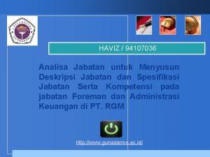 HAVIZ 94107036 Analisa Jabatan untuk Menyusun Deskripsi Jabatan