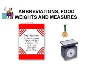 ABBREVIATIONS FOOD WEIGHTS AND MEASURES Abbreviations Teaspoon tsp