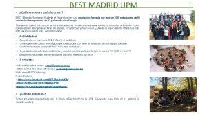 BEST MADRID UPM Quines somos y qu ofrecemos