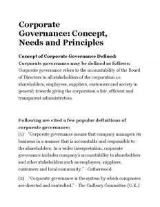 Corporate Governance Concept Needs and Principles Concept of
