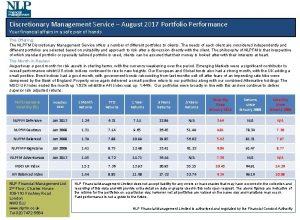Discretionary Management Service August 2017 Portfolio Performance Your